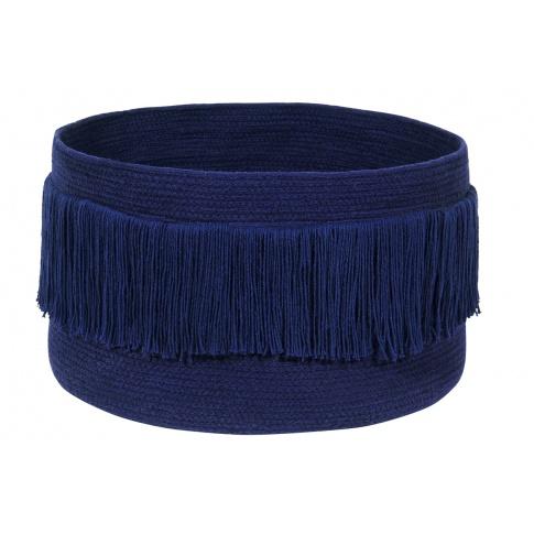 Fotografia, na której jest Kosz bawełniany z frędzlami Fringes Alaska Blue - Lorena Canals