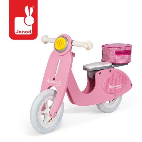 Fotografia, na której jest Rowerek biegowy różowy Scooter Mademoiselle, Janod
