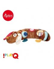 SIGIKID Duża aktywizująca poduszka wałek Piesek z lusterkiem, grzechotką, gryzakiem, dzwoneczkiem i szeleszczącą folią 6m+ PlayQ
