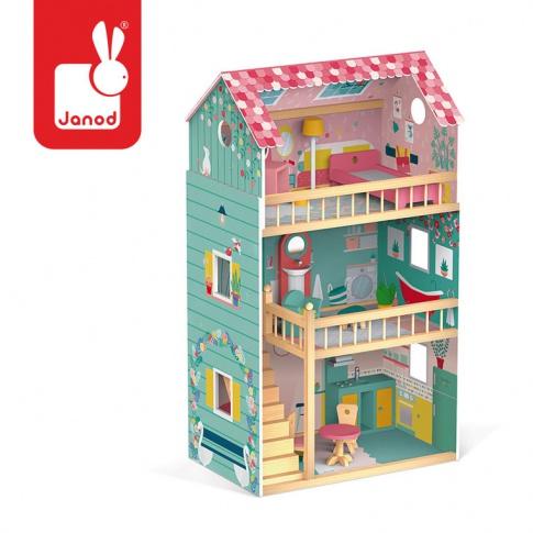 Fotografia, na której jest Domek dla lalek XL z 12 akcesoriami Happy Day, Janod