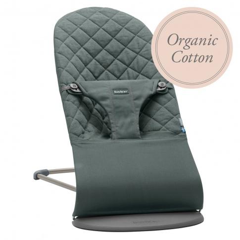 Fotografia, na której jest BABYBJORN - leżaczek BLISS COTTON Organic - Greyish Green