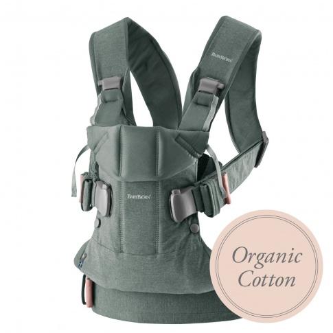 Fotografia, na której jest BABYBJORN ONE - nosidełko - Organic Cotton Greyish Green