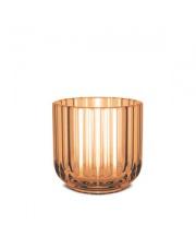 Świecznik szklany - amber / bursztynowy - Lyngby