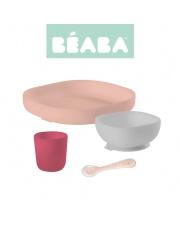 Beaba Komplet naczyń z silikonu z przyssawką pink