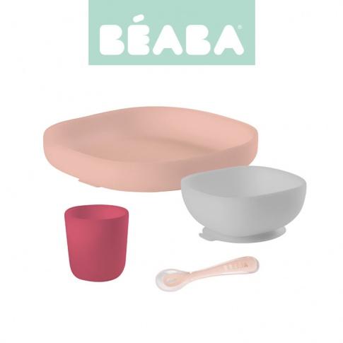 Fotografia, na której jest Beaba Komplet naczyń z silikonu z przyssawką pink