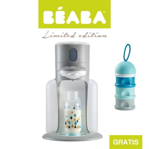 Fotografia, na której jest Beaba Zestaw Bib'expresso® Ekspres do mleka 3w1 grey z pojemnikiem na mleko w proszku blue - OFERTA LIMITOWANA