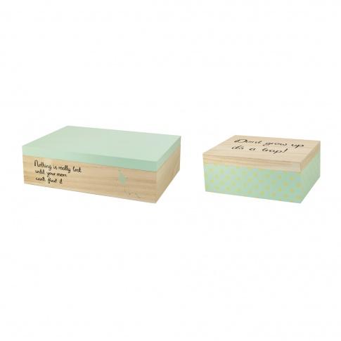 Fotografia, na której jest Zestaw dwóch miętowych pudełek - Bloomingville