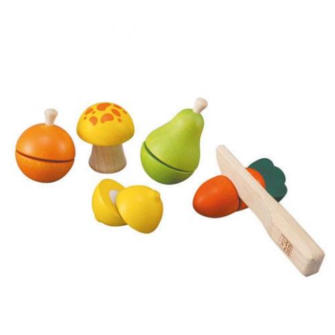 Fotografia, na której jest Drewniane warzywa i owoce do krojenia, Plan Toys®