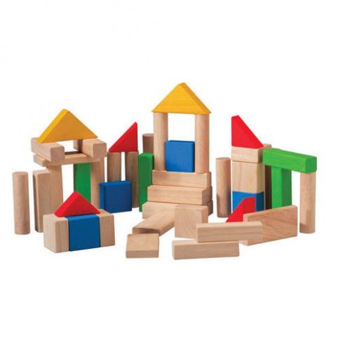 Fotografia, na której jest Drewniane klocki drewniane, kolorowe (50 sztuk), Plan Toys®