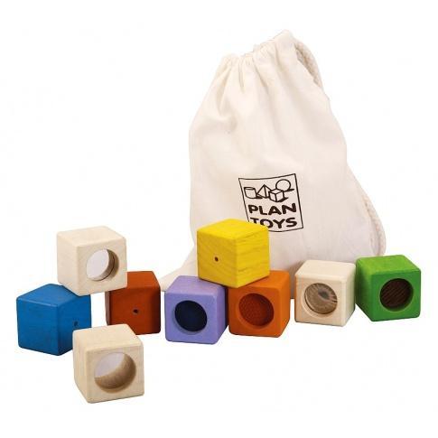 Fotografia, na której jest Klocki sensoryczne, interaktywne w woreczku, Plan Toys®