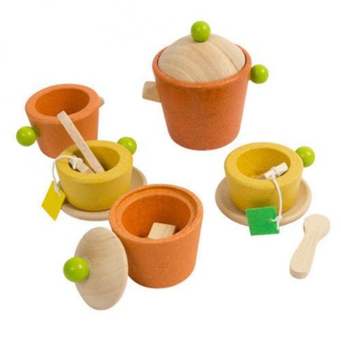 Fotografia, na której jest Serwis do herbaty, drewniany zestaw do zabawy, Plan Toys®