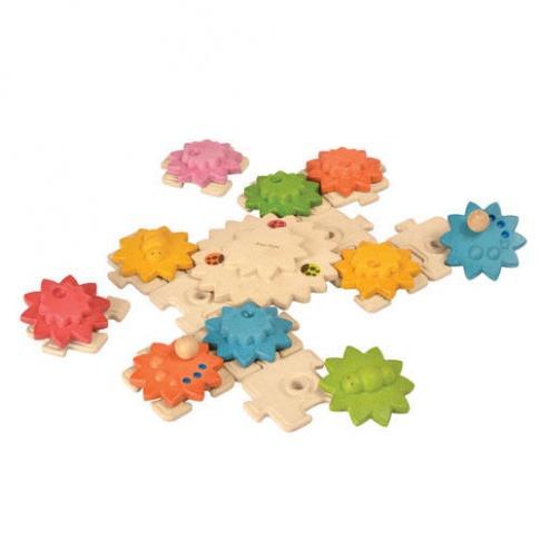 Fotografia, na której jest Drewniane puzzle, koła zębate Deluxe, Plan Toys®