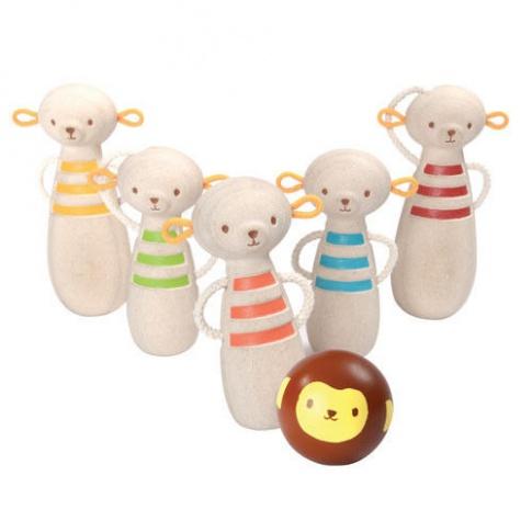 Fotografia, na której jest Drewniane kręgle małpki, Plan Toys®