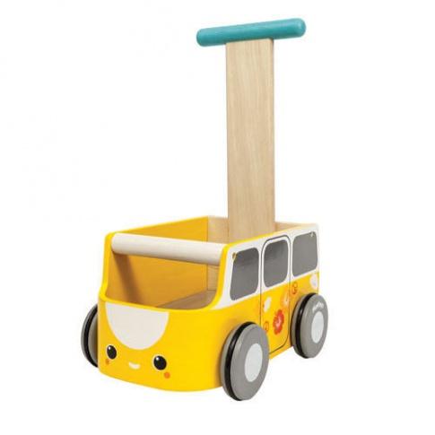 Fotografia, na której jest Drewniany chodzik żółty van - walker, Plan Toys®