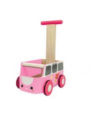 Drewniany chodzik różowy van - walker, Plan Toys®