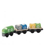 Pociąg do przewozu odpadów, zestaw drewnianych wagoników, Plan Toys®