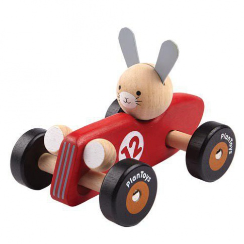 Fotografia, na której jest Drewniana rajdówka z królikiem, Plan Toys®