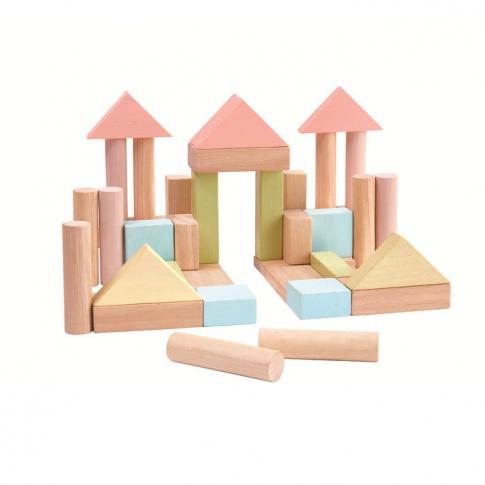 Fotografia, na której jest Klocki drewniane 40 szt., seria pastelowa | Plan Toys®