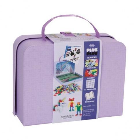 Fotografia, na której jest Plus-Plus,kartonowa walizka Mini 400 HIT (300Pastel+100Neon+płytka+książeczka)