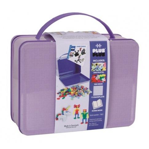 Fotografia, na której jest Plus-Plus, metalowa walizka Mini 600 HIT! (500Pastel+100Neon+płytka+książeczka)