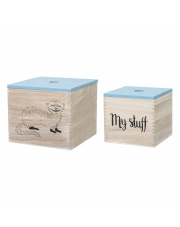 Dwa pudełka na zabawki - niebieski - Bloomingville