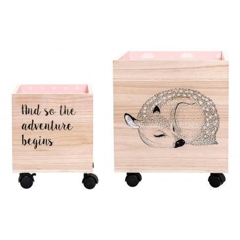 Fotografia, na której jest Komplet dwóch pudełek na zabawki - różowy - Bloomingville