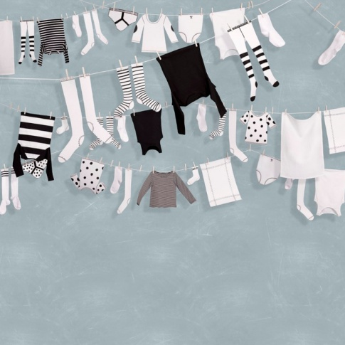 Fotografia, na której jest Fototapeta REBEL WALLS | Laundry Day, Blue