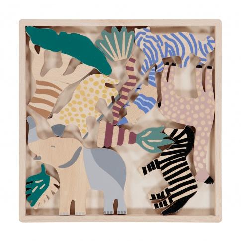 Fotografia, na której jest Komplet drewnianych zwierzątek SAFARI - ferm LIVING