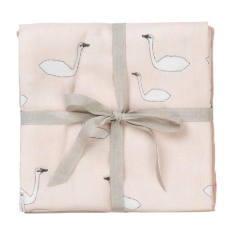 Fotografia, na której jest Muślinowe pieluszki Swan różowe 70 x 70 cm - ferm LIVING   3 szt.