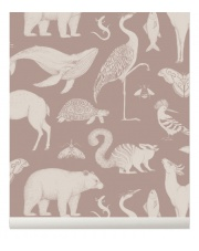 Tapeta flizelinowa ANIMALS / ZWIERZĘTA - Katie Scott & ferm LIVING | dusty rose