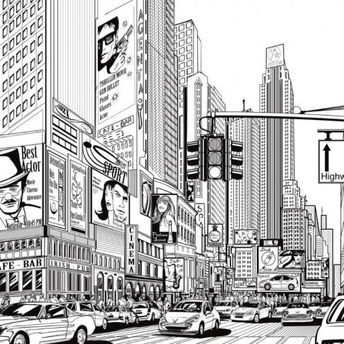 Fotografia, na której jest Fototapeta REBEL WALLS   Cartoon City