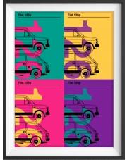 Plakat Fiat 126p kolaż - kreska