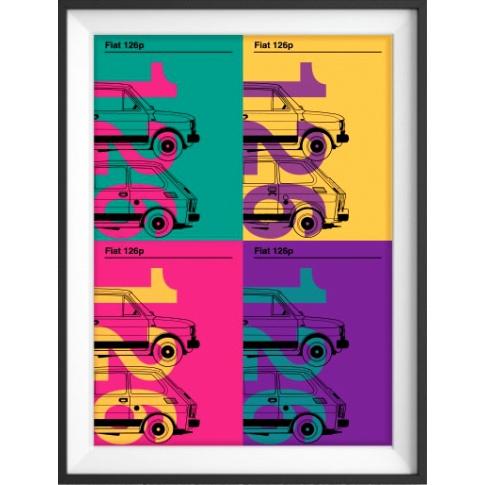 Fotografia, na której jest Plakat Fiat 126p kolaż - kreska