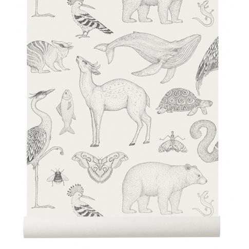 Fotografia, na której jest Tapeta zwierzęta ANIMALS off white - ferm LIVING