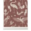Fotografia, na której jest Tapeta ptaki BIRDS dusty red - ferm LIVING