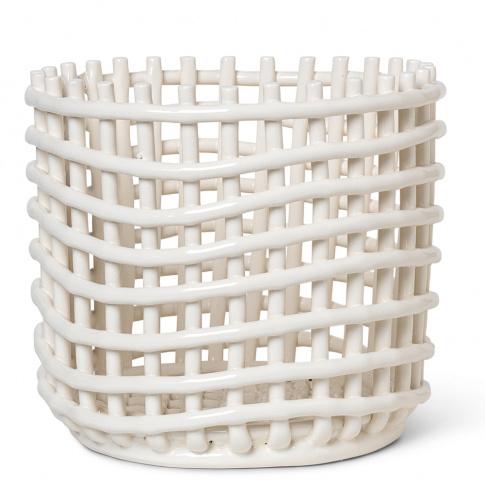 Fotografia, na której jest Kosz ceramiczny - ferm LIVING | off-white