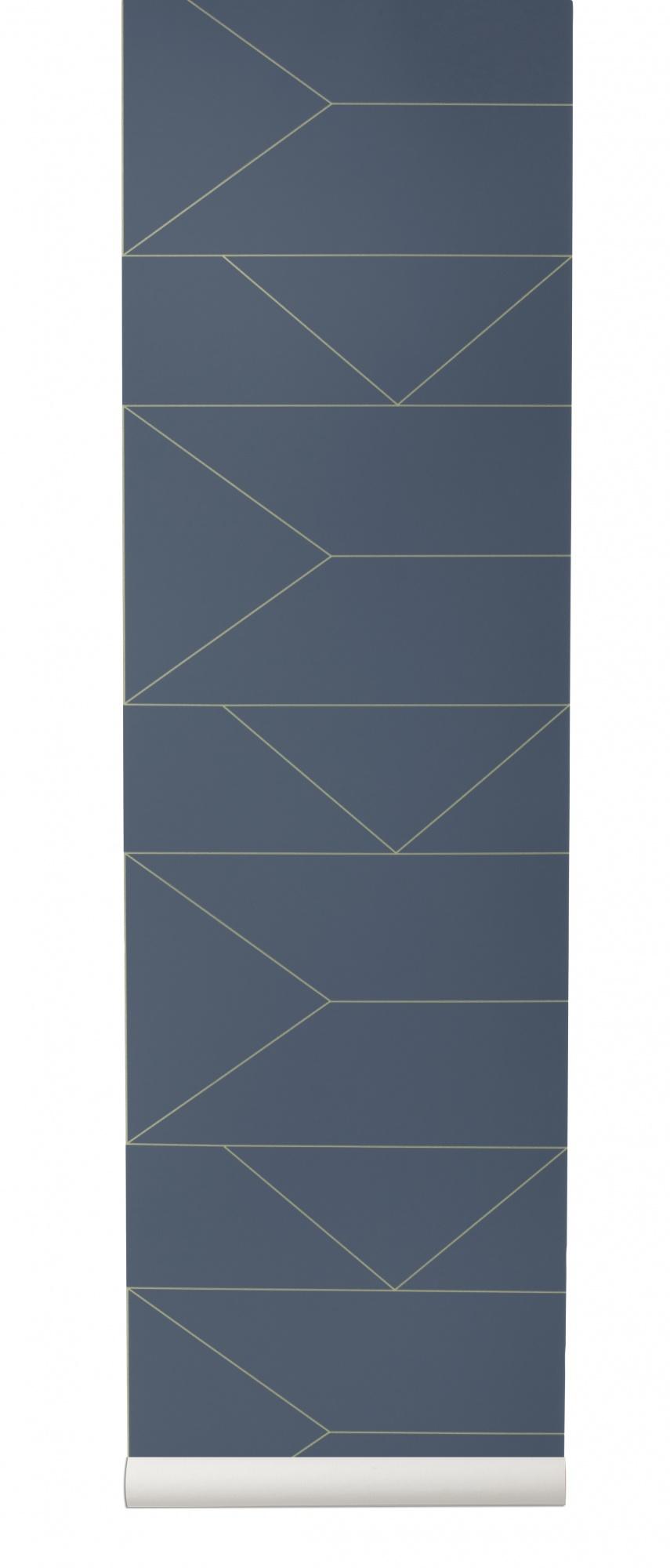 tapeta skandynawska lines granatowa ferm living. Black Bedroom Furniture Sets. Home Design Ideas