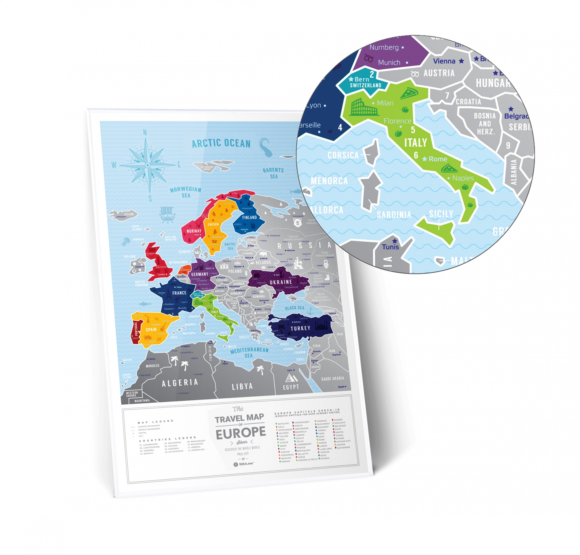 Mapa Zdrapka Mapa Europy Travel Map Silver Europe